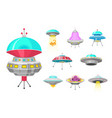 alien spaceships set of ufo unidentified flying vector image