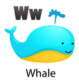 Alphabet W with whale vector image