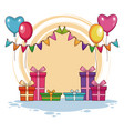 birthday gifts and balloons vector image vector image