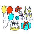 birthday set hand drawn vector image vector image