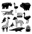 black and white exotic animals collection vector image vector image