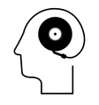 black silhouette head with record player vector image vector image
