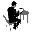 black silhouette man sitting behind computer on a vector image vector image