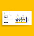 bored employees sleeping at desk landing page vector image vector image