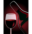 bottle and glass of red wine vector image vector image