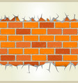 brick wall plaster cracks vector image
