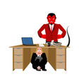 businessman scared under table of satan vector image vector image