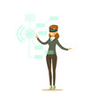 businesswoman wearing vr headset working in vector image vector image