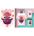 cartoon devil ice cream - mockup for your idea vector image vector image