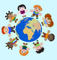 Concept Children of different nations Dream of Pea vector image vector image