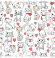 cute cats seamless funny pets doodle pattern for vector image