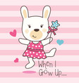 cute rabbit dancing vector image vector image