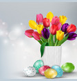 easter background with colorful eggs and tulips vector image vector image