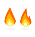 fire flame logo icon flat cartoon ignite vector image