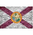 flag of florida on a brick wall vector image vector image