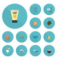 flat icons cocos drink car and other vector image vector image