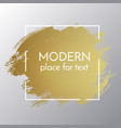 gold paint stroke with border frame dirty vector image vector image