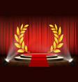 golden laurel wreath on podium vector image vector image