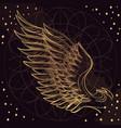 golden wing on purple background design element vector image vector image