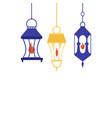 hanging arabic lanterns cartoon vector image