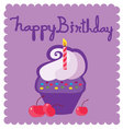 happy birthday letters and cupcakes vector image vector image