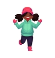 Happy little black skinned girl in winter clothes vector image vector image