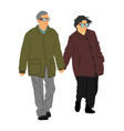 happy seniors couple in love holding hands vector image vector image