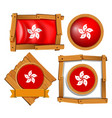 hong kong flag on round and square frames vector image