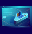 isometric cloud data storage and backup vector image vector image