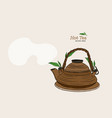 japanese tea kettle engraved vector image vector image