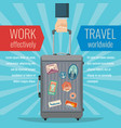 man hand holding travel bag luggage with landmarks vector image