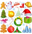 Merry Christmas design object with snowman tree vector image vector image