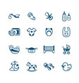 newborn baby objects icons vector image
