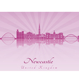 Newcastle skyline in purple radiant orchid vector image vector image