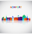newport skyline silhouette in colorful geometric vector image vector image