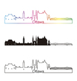 Ottawa V2 skyline linear style with rainbow vector image vector image