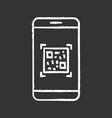 qr code scanning smartphone app chalk icon vector image vector image