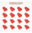 Set of diamond web iconssymbolsign in isometric vector image