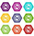 stop gmo icon set color hexahedron vector image vector image