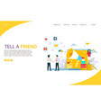 tell a friend website landing page design vector image