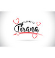 tirana welcome to word text with handwritten font vector image