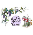 watercolor decorative frame from grape and glasses vector image