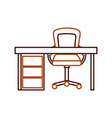 wooden desk and armchair furniture work elements vector image vector image