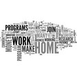 work at home common mistakes text word cloud vector image vector image