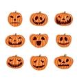 Halloween pumpkin icons set Emotion vector image
