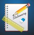 Stationery set notebook vector image