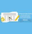 architectural bridge drawing banner horizontal vector image