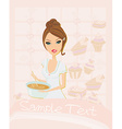 Beautiful lady cooking desserts vector image vector image