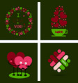 big set of icons for valentines day mothers day vector image