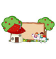 blank wooden banner with fantasy cartoon vector image